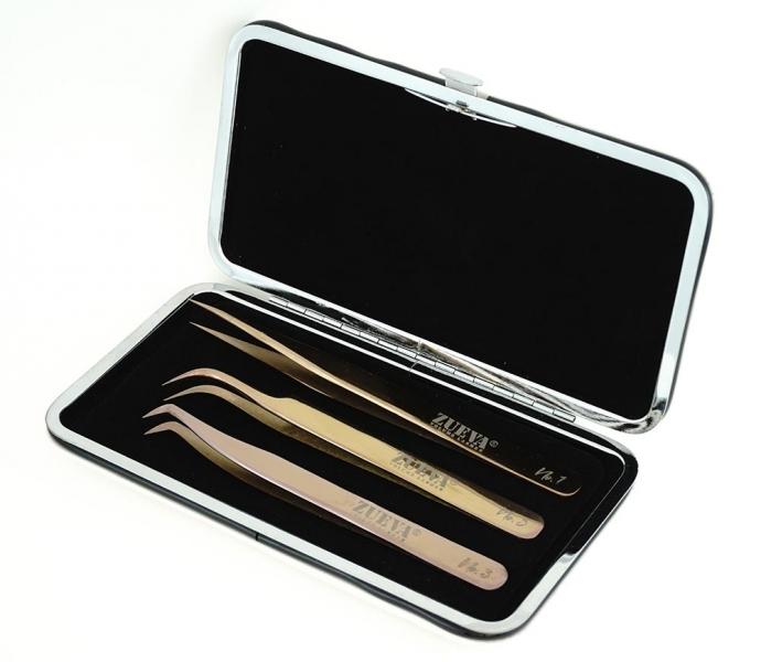 Rosé-Gold PRO Pinzetten Set + Magnet-Etui